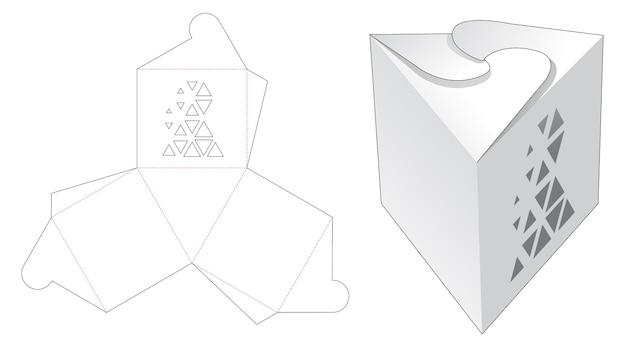 Driehoekige doos met gestencilde driehoekige gestanste sjabloon