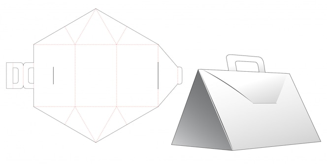 Driehoekige doos met handvat gestanst sjabloonontwerp