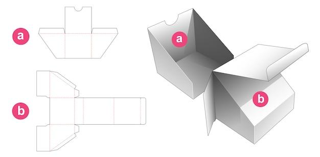 Driehoekige doos met inzetbak gestanst sjabloon