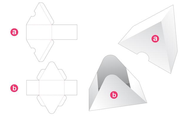 Driehoekige geschenkdoos en deksel gestanst sjabloon
