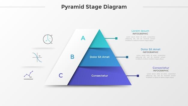Driehoekige grafiek of piramidediagram verdeeld in 3 delen of niveaus, lineaire pictogrammen en plaats voor tekst. concept van drie stadia van projectontwikkeling. infographic ontwerpsjabloon. vector illustratie.