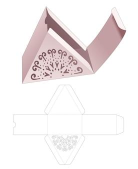 Driehoekige kartonnen doos met gestanste gestanste mandala-sjabloon