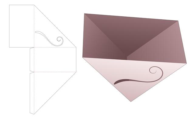 Driehoekige snackcontainer met gesjabloneerde gebogen lijn gestanste sjabloon