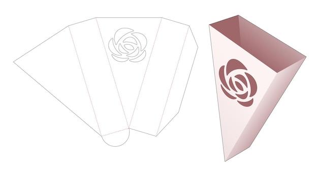Driehoekige snackcontainer met gestencilde roos gestanste sjabloon