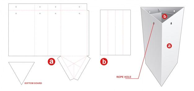Driehoekige tas met gestanst inzetstuk voor scheidingsinzet