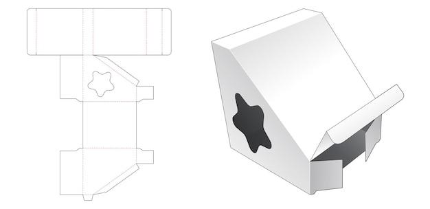 Driehoekige verpakking met stervormig venster gestanst sjabloon