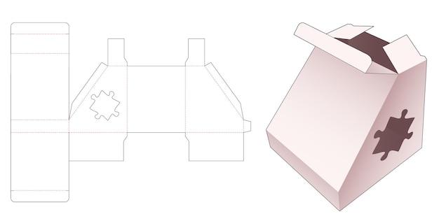 Driehoekige verpakking puzzel vormige venster gestanste sjabloon Premium Vector