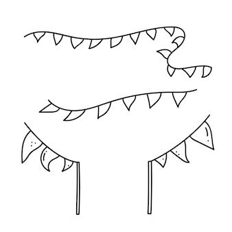 Driehoekige vlag, elementen voor festival, sportevenement, verjaardagsfeestje vlaggen vectorillustratie