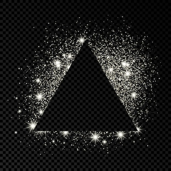 Driehoeksframe met zilveren glitter op donkere transparante achtergrond. lege achtergrond. vector illustratie.