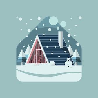 Driehoekshuis in wintersneeuw