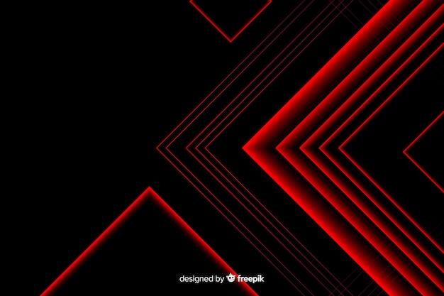 Driehoeksontwerp in rood lichtlijnen