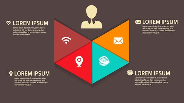 Driehoeksvorm infographic voor het bedrijfsleven