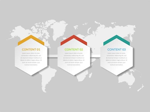 Driepunts abstracte infographic elementenvector