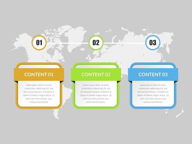 Driepunts zakelijk infographic ontwerp van elementen