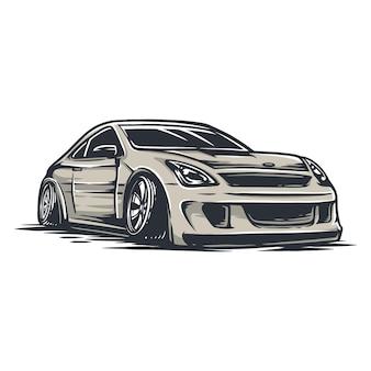 Drift auto in bestandsvector, gemakkelijk om van kleur te veranderen, een tekst en ander element toe te voegen