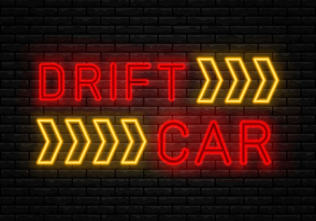 Drift show racing neon tekst. drift banner voor web of print.