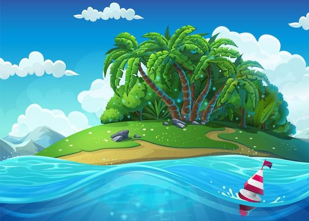 Drijf op de achtergrond van het eiland met palmbomen in de zee onder wolken. mariene levenslandschap - de oceaan en de onderwaterwereld