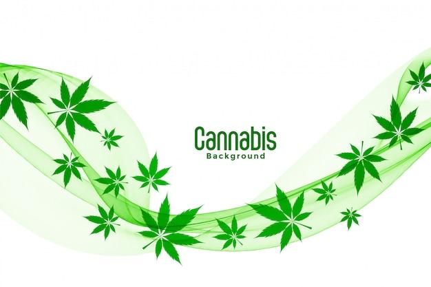 Drijvend groen cannabis marihuana verlaat achtergrondontwerp