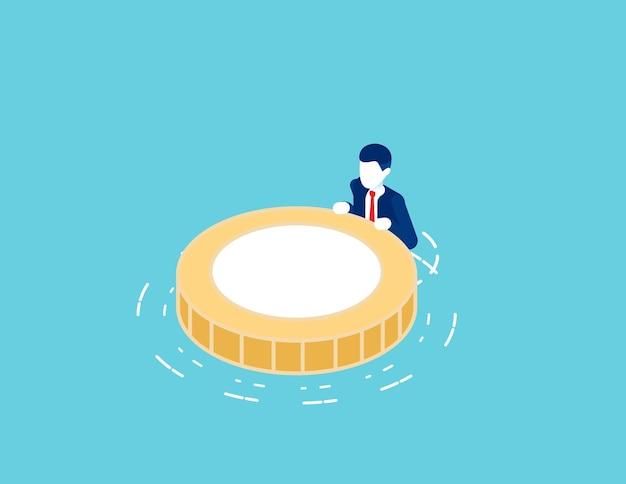 Drijvend op het water met reddingsmuntenboei. financiële crisis en reservefonds