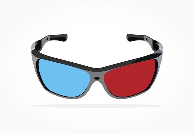 Drijvend realistisch 3d blauw rood oogglas met schaduweffect