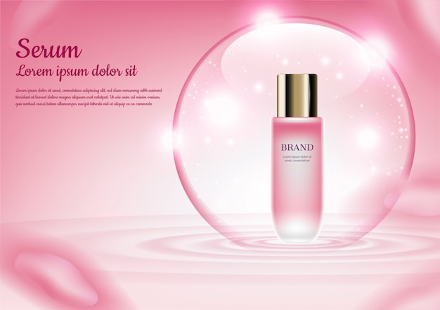 Drijvend serum in glanzende bubbel