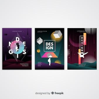 Drijvende 3d vormen brochure sjabloon collectie