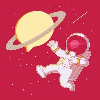 Drijvende astronaut met bericht planeet illustratie. technologie, communicatie