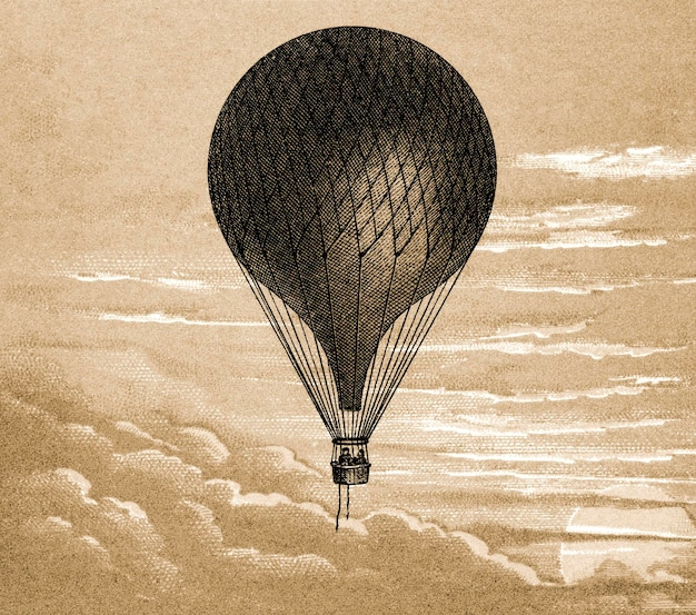 Drijvende ballon vintage illustratie, remix van het originele schilderij.
