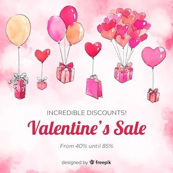 Drijvende ballonnen valentijnsdag verkoop achtergrond