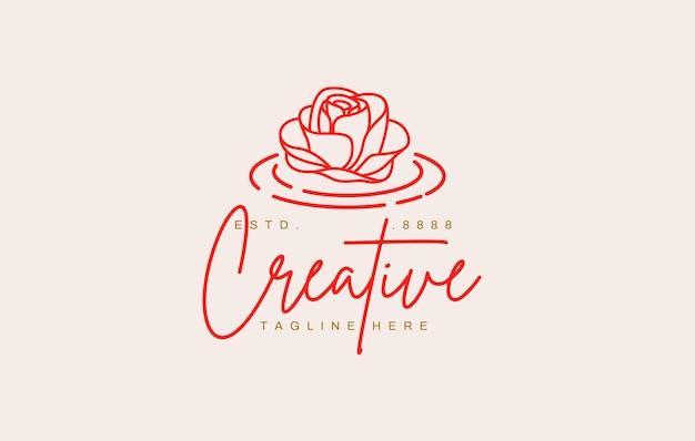 Drijvende bloem bloesem logo ontwerpsjabloon