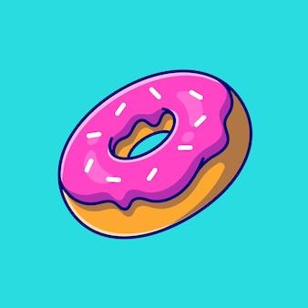 Drijvende donut cartoon pictogram illustratie. voedsel object pictogram concept geïsoleerd. flat cartoon stijl