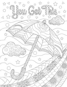 Drijvende paraplu met wolken sterren kleurloze lijntekening parsol zweeft de lucht in met