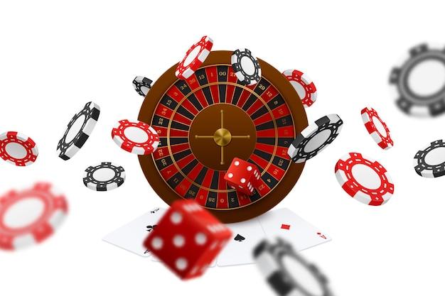 Drijvende pokerclubs dobbelstenen chips roulette speelkaarten azen close-up realistische online gaming advertentiesamenstelling