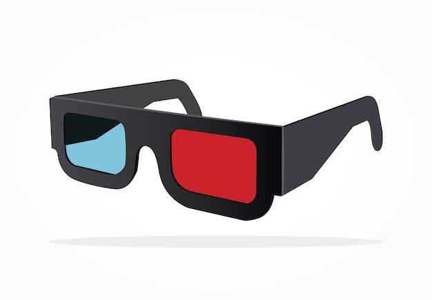 Drijvende realistische 3d-bril met schaduweffect