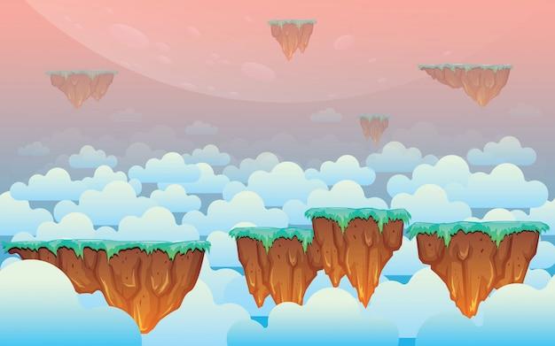 Drijvende skyland-spelachtergrond