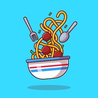 Drijvende spaghetti noedel met vleesbal cartoon