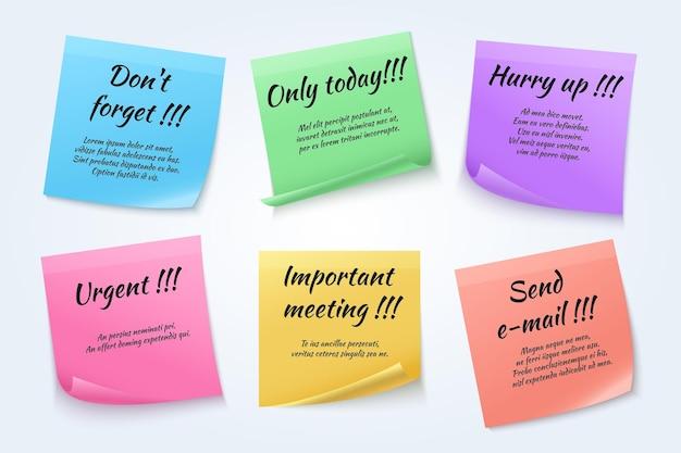 Dringende memoset van zelfklevend papier met berichten