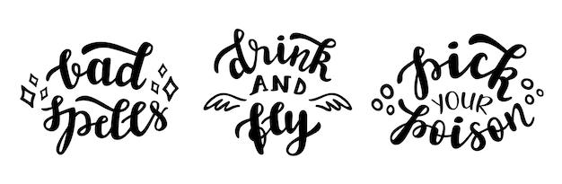 Drink en vlieg grappige citaten van het halloween-feestseizoen met de hand belettering