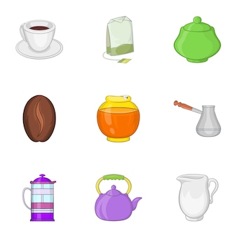 Drink iconen set, cartoon stijl