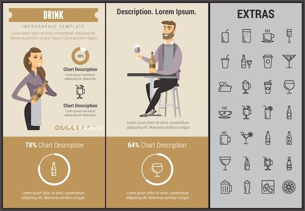 Drink infographic sjabloon, elementen en pictogrammen