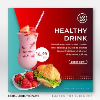 Drink instagram postsjabloon voor sociale media