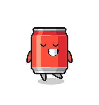 Drink kan cartoon afbeelding met een verlegen uitdrukking, schattig stijlontwerp voor t-shirt, sticker, logo-element
