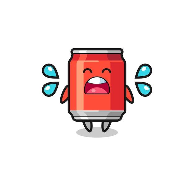 Drink kan cartoon afbeelding met huilend gebaar, schattig stijlontwerp voor t-shirt, sticker, logo-element