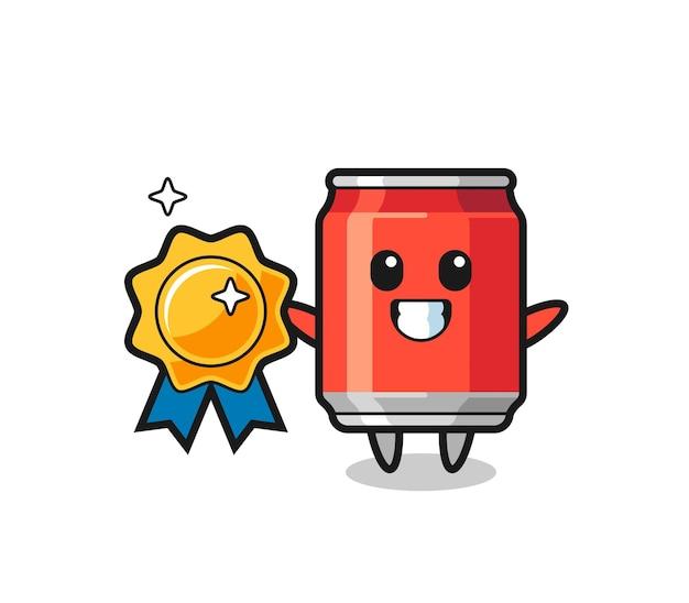 Drink kan mascotte illustratie met een gouden badge, schattig stijlontwerp voor t-shirt, sticker, logo-element