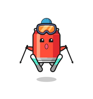 Drink kan mascotte karakter als ski-speler, schattig stijlontwerp voor t-shirt, sticker, logo-element