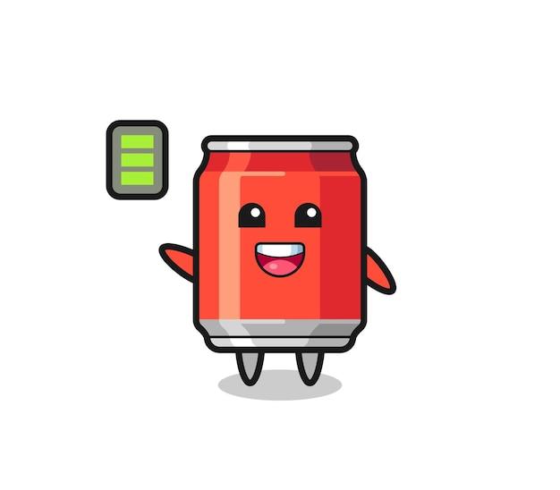 Drink kan mascottekarakter met energiek gebaar, schattig stijlontwerp voor t-shirt, sticker, logo-element