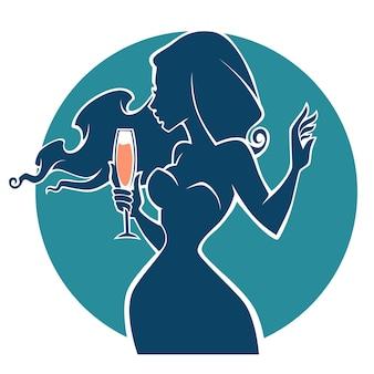 Drink met mij, vector commerciële achtergrond met afbeeldingen van drank en meisjessilhouet