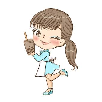 Drink nectar schattig karakter cartoon model emotie illustratie clipart tekening kawai anime manga