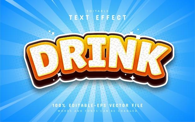 Drink teksteffect cartoon stijl