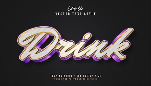 Drink tekststijl in kleurrijk verloop met reliëf en structuureffect